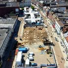 Great Yarmouth Market Place building site as seen from the air.