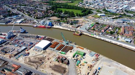 Preparations for new bridge on River Yare.