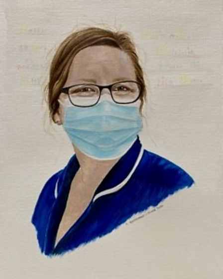 Artist Chris Goddard painted portraits of staff at School Lane Surgery in Thetford