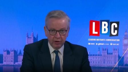 Michael Gove answers questions on Dominic Cummings. Photograph: LBC.