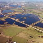 The St Ives Guided Busway and Fen Drayton Lakes from the air.
