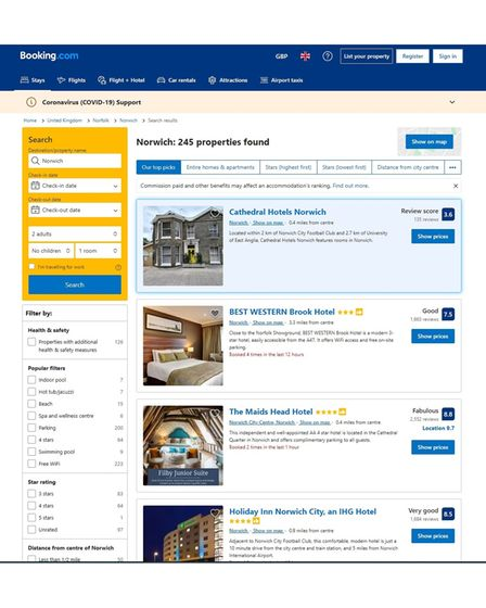 """The hotel features on Booking.com's """"top picks"""" and is at the top of the search page"""