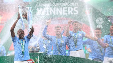 Manchester City's Fernandinho lifts the Carabao Cup in 2021