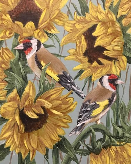 A painting of birds and sunflowers by Suzanne Claire Taylor