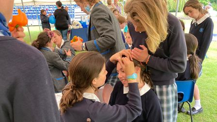 A girl getting her face painted atfor Beeston Hall School's Teddy Bears' Picnic.