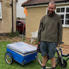 Glyn Holt, who leads the Terracycle project, with the new trailer