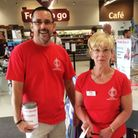 Matt and Lori from Portishead Stroke Club collecting funds to support the drop-in cafe.