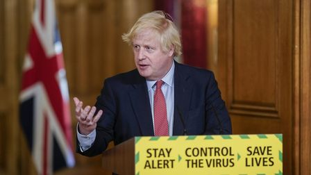 Prime Minister Boris Johnson during a media briefing in Downing Street. Photograph: Andrew Parsons/1
