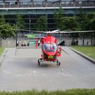 The air ambulance helicopter lands in Swiss Cottage on June 23 to attend to a teenage stab victim