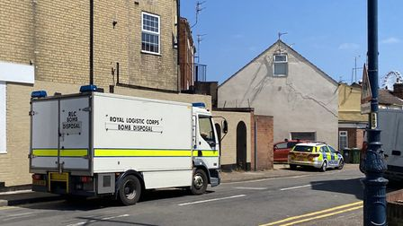 A bomb disposal team at Victoria Road in Great Yarmouth