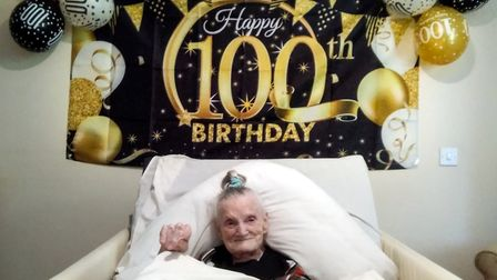 Talented seamstressRena Lowen celebrated her 100th birthday at Dove Court care home in Wisbech.