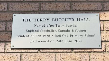 The sports hall at Red Oak Primary School renamed as The Terry Butcher Hall.