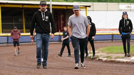 Danny King and guest Nick Morris leading the Witches on a track walk ahead of the meeting at Sheffie