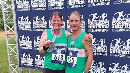 Nathalie Williams of Riverside Runners, with Gary Barnes