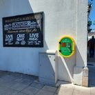 The new defibrillator on the wall of Molloy's Pub in St Marychurch
