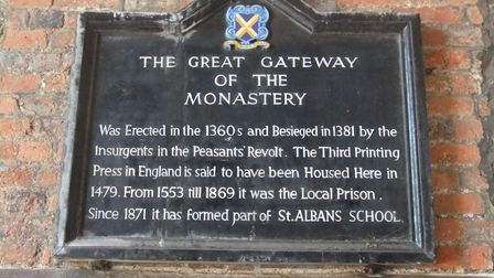 A plaque inside the Abbey Gatehouse.