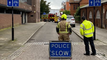 Emergency services have closed Culter Street in Ipswich town centre
