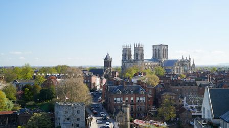 The spectacular view of York Minster and the city from Sora, the new sky bar at Malmaison, York