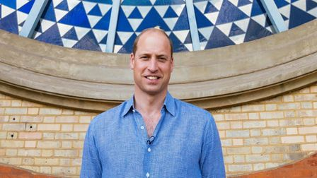Prince William in front of AllyPally's Rose Window