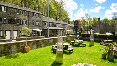 Outdoor seating area at the Woodman Inn, Yorkshire