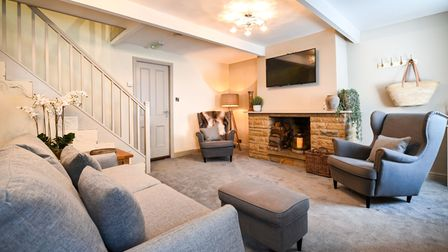 The spacious lounge in Cinderhill's Cottage, the Woodman Inn, Yorkshire