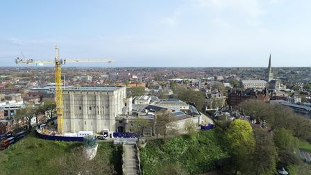 Norwich Castle as never seen before with the cathedral also pictured to the right