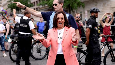 Vice-president Kamala Harris joins marchers for the Capital Pride Parade on June 12, 2021 in Washington, DC