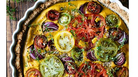 TURMERIC, THYME & TOMATO WITH RED ONION VEGAN QUICHE - Joanne Wood -