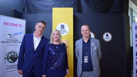 Cllr Christine Vickery and husband Tom (l) on the red carpet withfestival director Spencer Hawken (l)