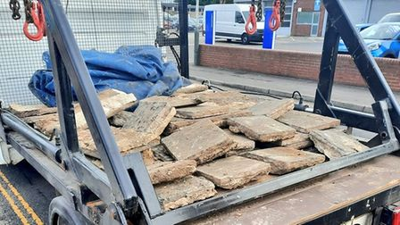A skip lorry was stopped on Whiffler Road in Hellesdon due to its concrete slabs not being securely stored