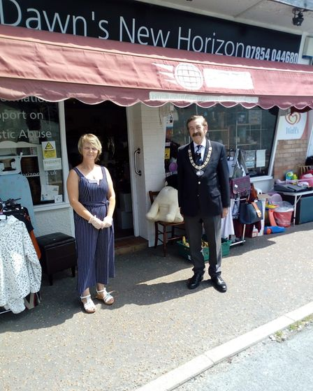 Sprowston mayor John Ward is pictured on the right with local business Dawn's New Horizon in Sprowston