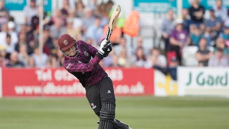 Tom Banton hits out forSomerset in the Vitality Blast