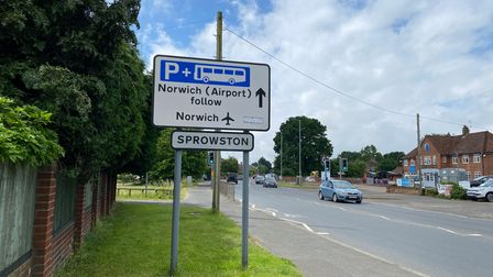 A sign for Sprowston on Wroxham Road