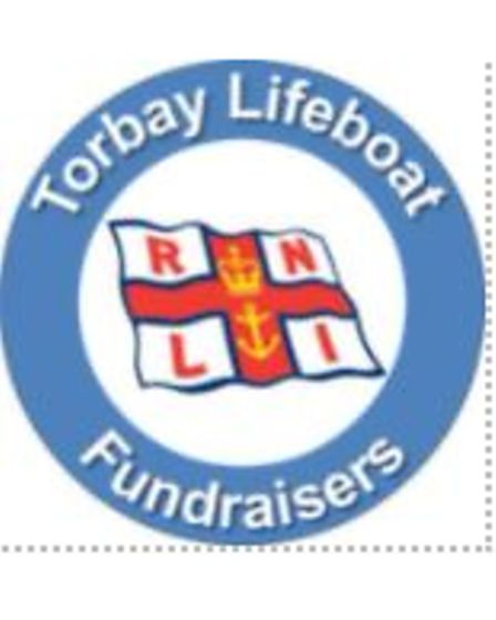 Torbay lifeboat fundraisers logo around RNLI flag