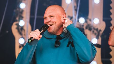 Tom Kerridge on stage at Pub in the Park.