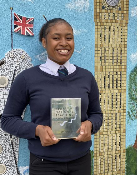 Student Kayla with Haringey Learning Partnership's Pearson National Teaching Silver Award