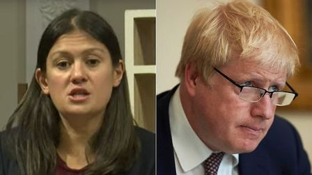 Shadow foreign secretary Lisa Nandy (L) and Boris Johnson. Nandy called on the prime minister to 'ta