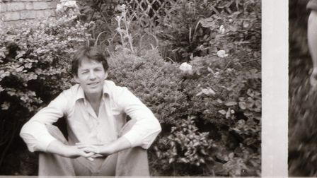 Piers Plowright in the Gayton Road garden of the old home of Cate Haste and Lord Bragg