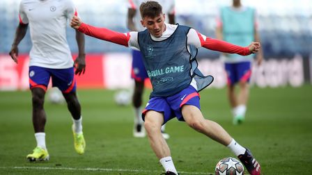 Chelsea's Billy Gilmour during a training session ahead of the UEFA Champions League final, at the E