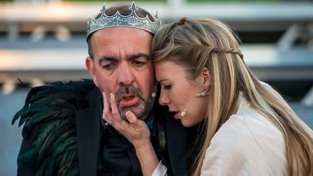 Adam Nichols as King Leontes and Lucy Crick as Hermionein The Winter's Tale at the Roman Theatre Open Air Festival.