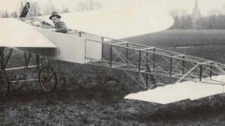 James Radley in an aircraft on Portholme Meadow.