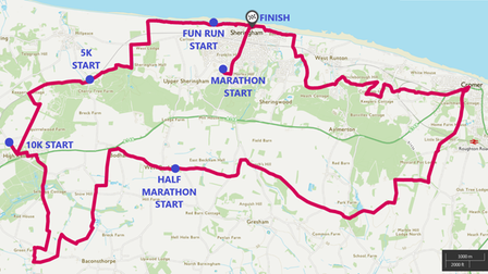 The route for the run in memory ofBenny Pitcher.