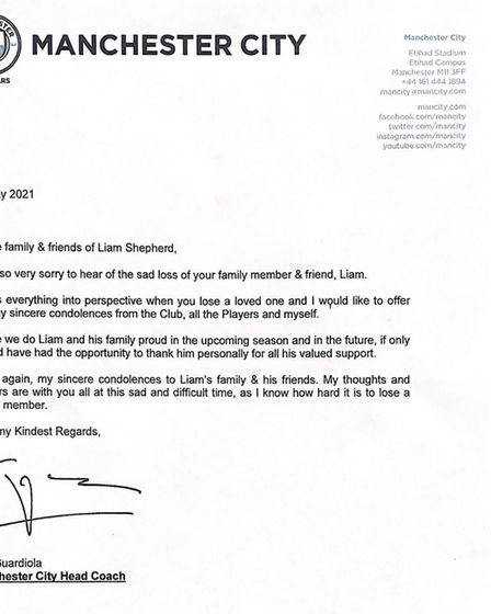 Pep Guardiola sends letter to Weston mum after 11-year-old son dies in his sleep.