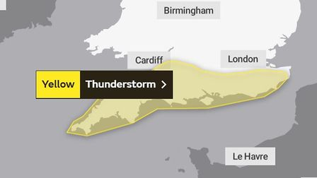 A weather warning for thunderstorms has been issued