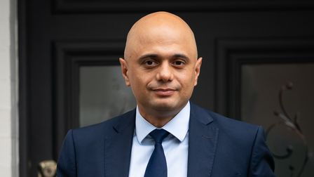 Former chancellor of the exchequer Sajid Javid, outside his home in south west London, after he was