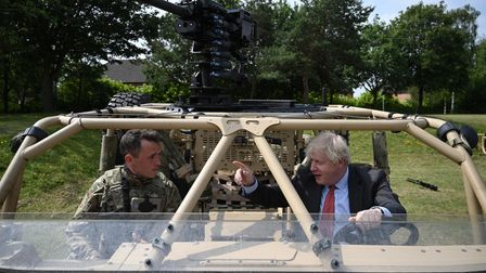 Prime Minister Boris Johnson during a visit to Aldershot Garrison in Hampshire to mark Armed Forces Week