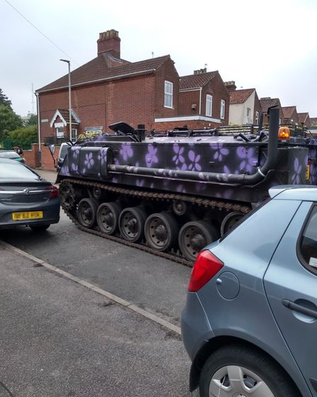 A tank driving down Belsize Road, at the top of Kett's Hill, in Norwich on Sunday.