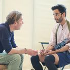 Daniel Lapaine and Sid Sagar in rehearsals for The Invisible Hand by Ayad Akhtar at the Kiln Theatre
