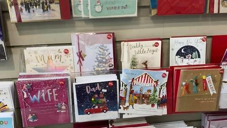 Christmas cards on sale in Clintonsin St Albans in June.