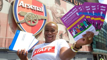 Annetta William was handing out lateral flow tests to people at The Emirates